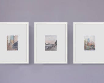 Set of three framed prints - watercolor paintings - NYC cityscapes -- upper west side