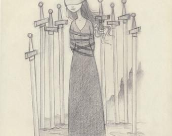 Tarot - 8 of Swords - Original Drawing