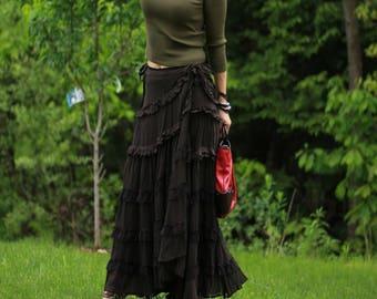 Bohemian wrap Skirt , Boho Skirt , Bohemian Clothing , Black Gypsy Skirt , Long Skirt , Any Size