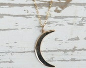 Bronze Crescent Moon Pendant | Gold Necklace | Moon Jewelry | Gold Filled Chain | Bronze Charm | Pendant Necklace | Layering Necklace