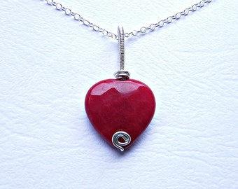 Red jade necklace, romantic gift jewelry, red jade heart pendant, heart jewelry, ruby jade silver necklace, wire wrap pendant, sterling