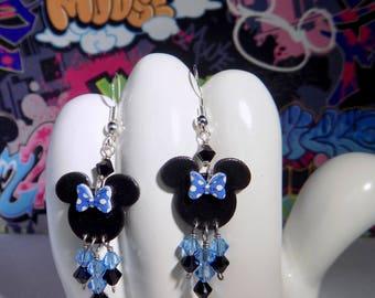 Minnie Mouse Blue Polka Dot Bow Dangle Earrings