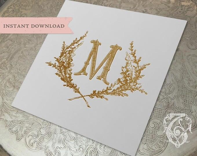 Vintage Wedding Initial Crest M Garden Wreath Digital Download