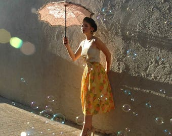 Skirt / Cotton / 50s / Vintage / Floral / Midi / Skirt For Woman / Skirt For Women