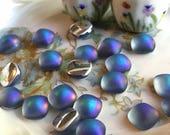 Vintage Iridis Glass Stones, Square stones, Square cabochons, iris cabochons, Rainbow Sapphire stones, 9mm #1094QR
