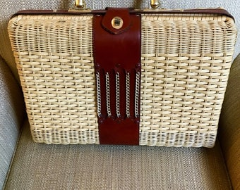 60s XL Woven Handbag Natural Resin Coated Wicker Gold Tone Clasp Chain Leather Handle British Hong Kong Fab Stylist Photo Shoot Pin Up Prop