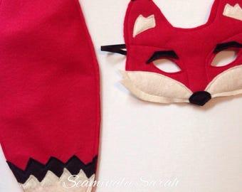 Child's Felt Fox Mask and Tail - Halloween, Costume, Dress Up