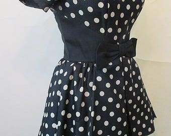 "Chic 1950's ""New Look"" Silk Polka-Dot Cocktail Party Dress with Dramatic Peplum Pinup Girl Rockabilly Size small l"