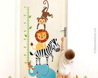 Jungle Animals Wall Decal, Jungle Animals Growth Chart, Safari Growth Chart Wall Sticker, Lion Elephant Monkey Zebra Kids Room Wall Decor