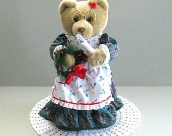 Christmas Bear Teddy Bear Doll Artist Bear Art Doll Bear Toy Unique Bear Decor Girl Bear Plush Bear Large Bear Dressed Bear Musical Bear