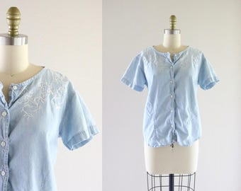 embroidered chambray top / s