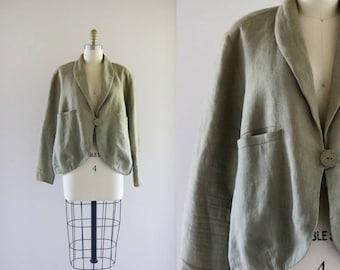 moss linen summer jacket