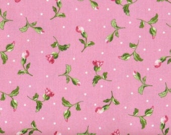 Pink Flower Buds with Leaves and Dots on Pink Cotton Quilt Fabric Blender, Shabby Chic, Poppies Collection, Fat Quarter, Yardage, MAS8786-P