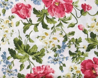 Pink, Blue, Green and Ivory Floral on Ivory Cotton Quilt Focal Fabric, Shabby Chic, Poppies Collection, Fat Quarter, Yardage, MAS8780-E