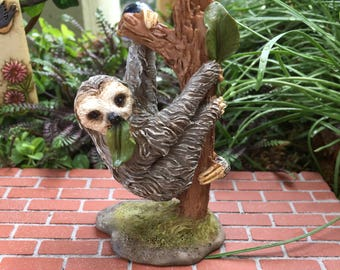 Mini Sloth Figurine, Sloth Hanging on Tree #4631, Fairy Garden Accessory, Home & Garden Decor, Shelf Sitter, Topper, Gift