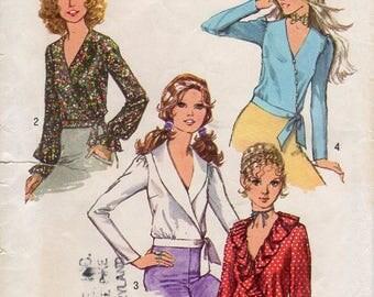 1970s Front Wrap Blouse Pattern - Vintage Simplicity 9559 - Size 10 Bust 32 1/2 UNCUT FF