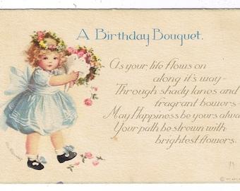 Vintage Ellen Clapsaddle - Birthday Wish - International Art Publishing Co - Artist Signed - Beautiful Child - Roses- Divided Back Post Card