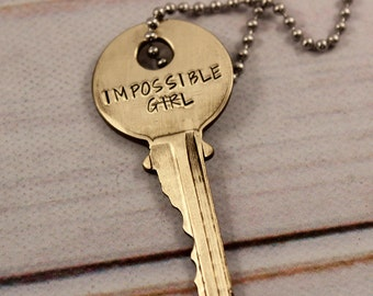 Impossible Girl KEY - Doctor Who Inspired - Whovian necklace - TARDIS KEY - Clara Oswald Key - fandom - Dr who