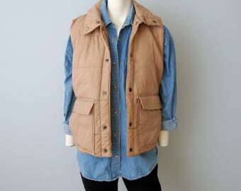 Vintage 1970's Khaki Beige Puffy Vest Sears Men's Size Small Retro Outerwear Camping Jacket Snap Up Nylon