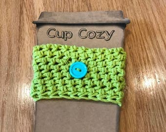 Crochet Cup Cozy, Crochet Hot Green Cup Cozy, Crochet Cup Cozy with Button