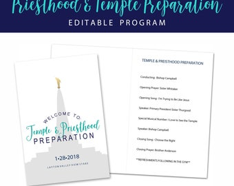 LDS Priesthood and Temple Preparation Program-LDS Primary-11 Year Old- Editable Printable Program 8.5x11-Primary-LDS Youth