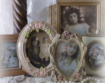 Victorian Charm Tabletop Frames. Vintage Collection Ornate Petite Frames. Ancestor Portrait Frames. French Farmhouse Shabby Picture Frames