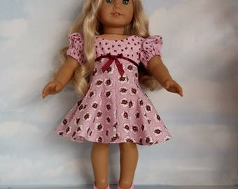 18 inch doll clothes- Pink Rosebud Dress handmade to fit the American Girl Doll - FREE SHIPPING in USA