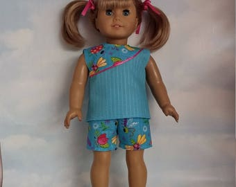 18 inch doll clothes - Aqua Shorts and Top handmade to fit the American girl doll - Free Shipping USA