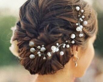 3 pc Bridal Hair Pins pearl hair pin wedding boho hair pin Pearl hair pins wedding hair vine pearls bridal hairpiece wedding hair pins