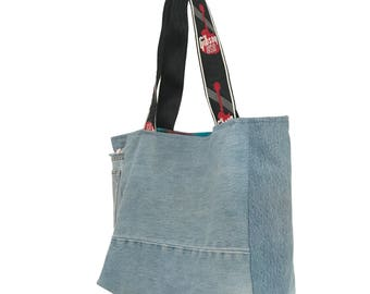 Up-cycled Denim tote with Gibson Guitar Strap Handles