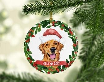 Dog Ornament Pet Gift Golden Retriever Christmas Ornament Golden Retriever Ornament Dog Christmas Ornament Custom Dog Wearing Santa Hat Cute