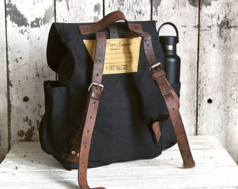 Waxed Canvas Backpack Little Rogue in Coal, Rucksack, Waxed Canvas Bag, Bicycle Bag, Bike Bag, Waxed Canvas Travel Bag, Diaper Bag, For Her