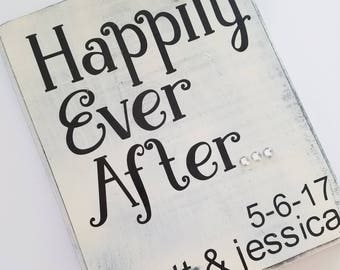 Happily Ever After, Wedding Decoration, Anniversary Sign, Antiqued and Rustic Decor, Black and Cream, Country Wedding, Wood Sign