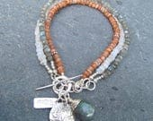 Reserved for Julie ~ Sunstone, Moonstone and Labradorite 3-Strand Bracelet with Sterling Silver Vines Charm and Hammered Toggle Clasp,