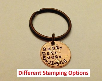 Best Day Ever Key Chain: 7 Year Anniversary Gift, Couple Engagement Gift, 7th Copper, Boyfriend Girlfriend, Custom Stamped Date Penny 2018 +