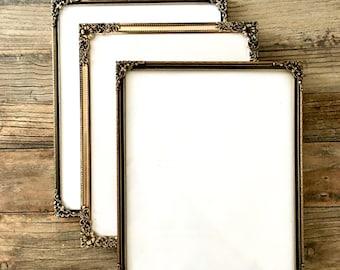 Lot of Vintage Gold Brass Frames with Various embossed Gold metal frames, Set of 3, 8 x 10