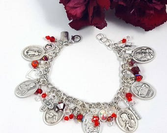 Religious Medals, Charms, Ruby Crystal and Mille Fiore Charm Bracelet