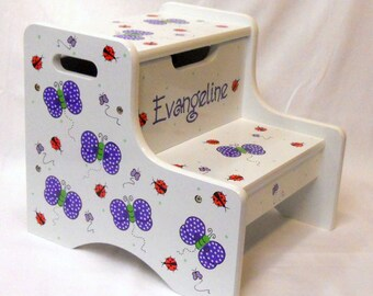 Large Personalized Two Step Stool with Butterflies and Ladybugs