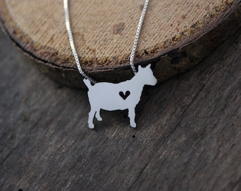Pygmy Goat necklace, sterling silver, tiny silver hand cut pendant with heart