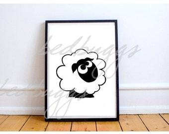 Counting Sheep Print, Girl Nursery Animal Printable, Boy Nursery Wall Art, Lamb Printable Art, Kids Printable, fun Digital Instant Download