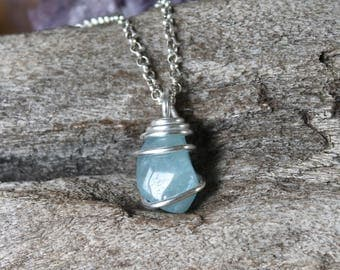 PETITE Aquamarine Necklace - Blue Aquamarine Jewelry - Blue Gemstone Pendant - Wire Wrapped Stone Necklace - Boho Bridesmaid Wedding Jewelry