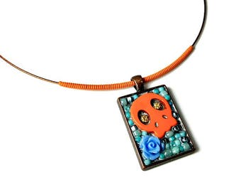 Orange Skull Necklace Pendant, Day of the Dead Necklaces, Sugar Skull Jewelry, Skulls and Roses,  Dia De Los Muertos, Gift For Her