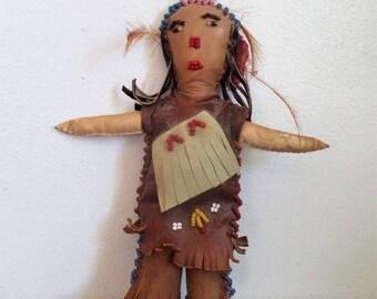 Vintage Handmade Native American  Beaded Leather Girl Doll