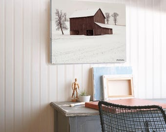 "Photo Painting ""Brookside Farm"" Winter Canvas Print U.S. Artist"