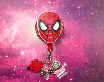 The Amazing Spider Man Spidey Superhero Rhinestones Red Cross Dangle Charm Beaded Retractable ID Badge Reel CNA Rn Nurse Technician Angel