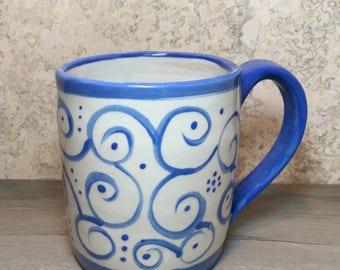 Blue and White Mug - Handmade Stoneware Mug - Ceramic Mug - Hand Painted Mug - Coffee Mug - Beverage Mug - Painted Mug - Tea Cup - Pottery