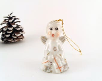 Vintage Angel Christmas Ornament and Miniature Bell, Porcelain Ceramic Angel Bell Ornament, Made in Japan, Vintage Christmas Holiday Décor