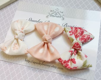 3 Vintage Cottage Chic Fabric Hair Bow Set, Small Floral Hair Bow, NO SLIP Hair Clip, Baby Toddler Hair Bow, Little Girl Hair Barrette