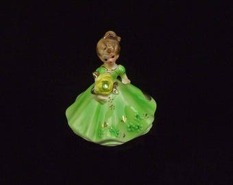 Vintage Josef Original Green Porcelain Lady Figurine August Birthday Peridot Hang Tag and Paper Label