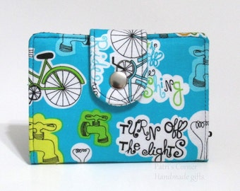 Small and slim  wallet - Ride the bike to save energy - ID clear pocket - handmade women bi fold wallet - ready to ship - gift ideas for her